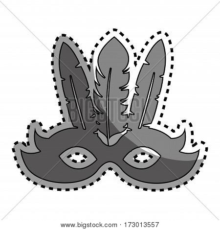 sticker gray silhouette festival mask with feathers vector illustration