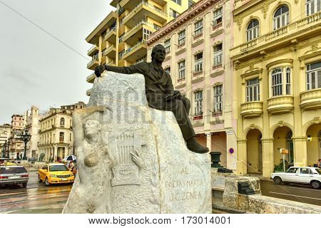 Havana, Cuba - Jan 7, 2017: Juan Clemente Zenea Monument erected at the beginning of El Prado de La Habana in the 1920s.
