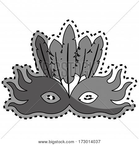 sticker gray silhouette mask feather carnival festival circus fair celebration vector illustration