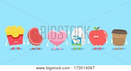 cute cartoon fruit character smile happily with blue background