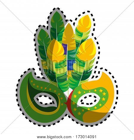 sticker colorful mask carnival celebration icon design vector illustration