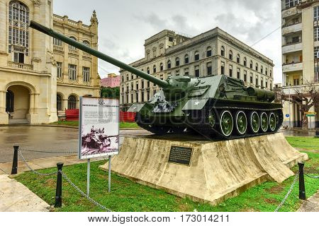 Havana, Cuba - Jan 7, 2017: Soviet tank in front of the Museum of the Revolution in Havana. The palace was the headquarters of the Cuban government for 40 years.