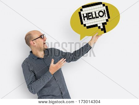 Hello Hi Greeting Speech Bubble Holding Board