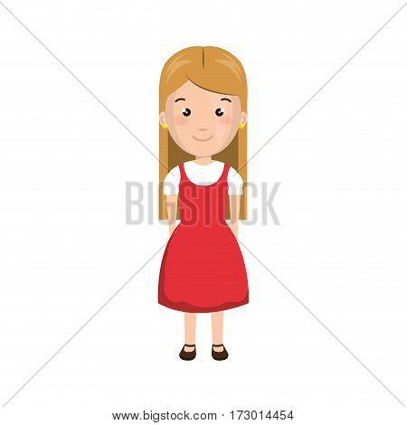 cartoon blond girl with cute dress vector illustration