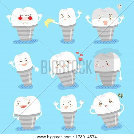 cute cartoon tooth implant brace do different emotions