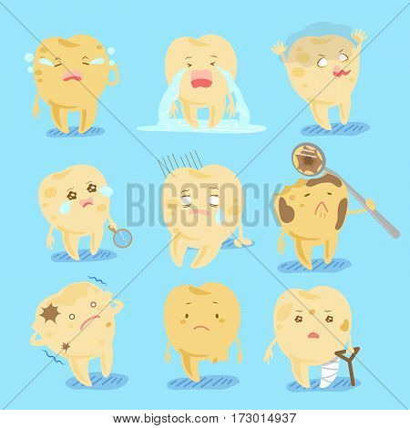 cute cartoon tooth with decay problem for your health concept