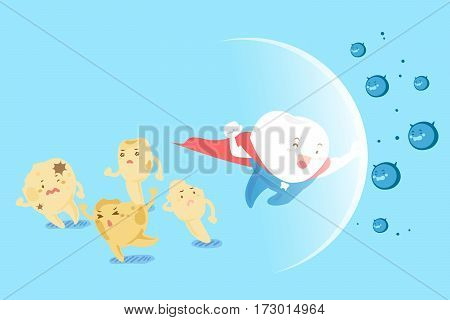 cute cartoon super tooth fight with bacterium for your health design