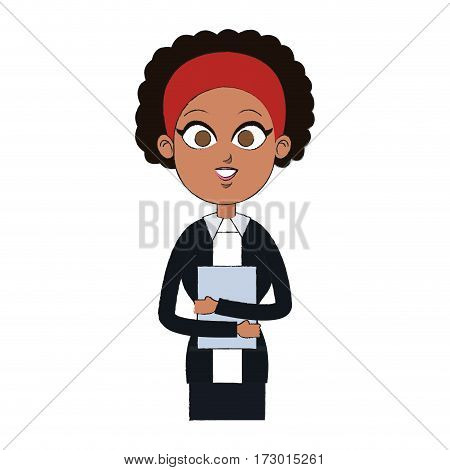 young pretty business woman in professional outfit icon image vector illustration design