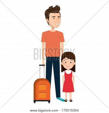 cartoon father with travel briefcase and daugther girl vector illustration