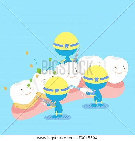 cute cartoon tooth with health clean concept
