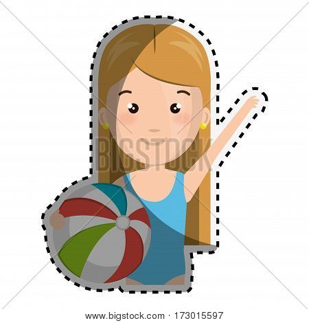 sticker half body cartoon blond girl with summer swimsuit and ball vector illustration