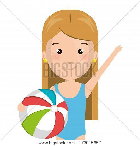 half body cartoon blond girl with summer swimsuit and ball vector illustration