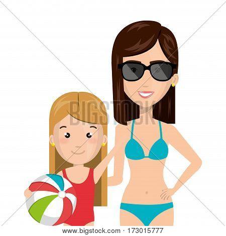 half body cartoon blond girl with woman in bikini vector illustration