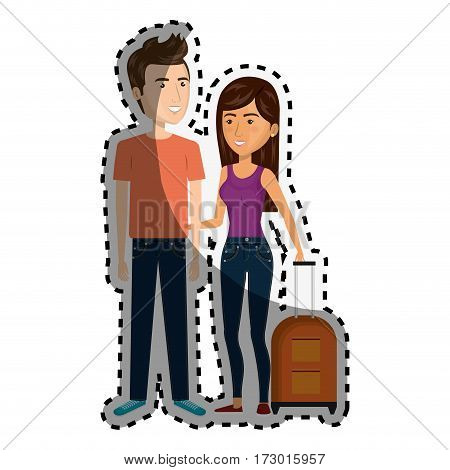 sticker cartoon couple with woman brunette and man with travel luggage vector illustration