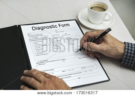 Hand writing sign documents for business form