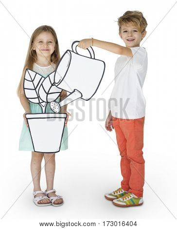 Girl and boy playing papercraft watering houseplant