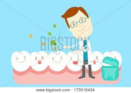 cute cartoon dentist take floss to clean tooth