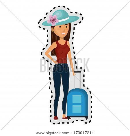 sticker cartoon brunette woman with travel briefcases and hat lace vector illustration