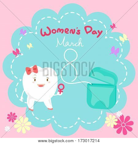 cute cartoon tooth with happy womens day