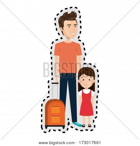 sticker cartoon father with travel briefcase and daugther girl vector illustration