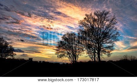 Sunset sky with dramatic clouds and blackened silhouetted trees