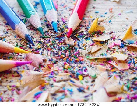 The Sharpened color pencil and pencil shavings