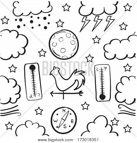 Doodle of weather style vector collection stock