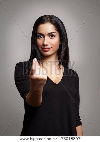 Flirty Woman Hand Beckoning.