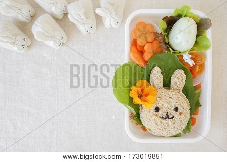 Easter Buny Lunch Box, Fun Food Art For Kids