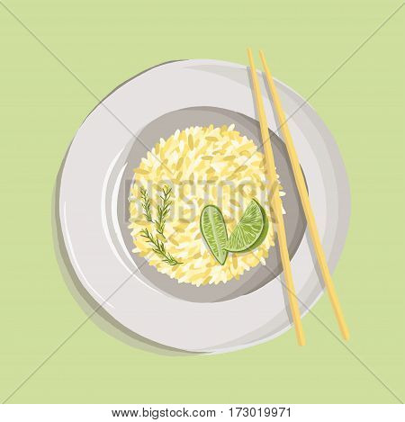Rice pilaf with turmeric powder, rosemary, lime and chopsticks on white plate. realistic dish. Vector illustration