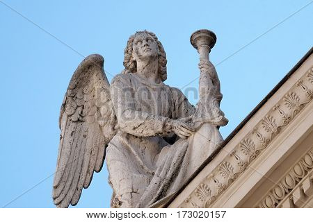 ROME, ITALY - SEPTEMBER 03: Angel, San Rocco church dedicated to Saint Roch. Founded in 1499 by Pope Alexander VI as the chapel of an adjacent hospital in Rome, Italy on September 03, 2016.