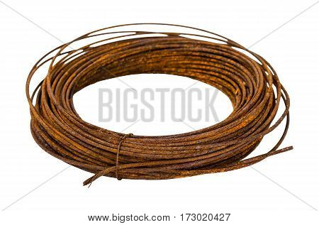 The Old rusty metal wire on white background