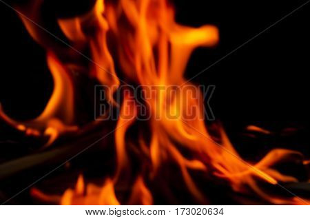 bright tongues of flame on a black background