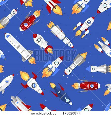 Vector technology ship rocket cartoon seamless pattern. background
