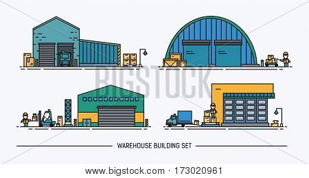 Set of warehouse buildings of different shape with freight transport. Isometric. Colorful. Lineart.