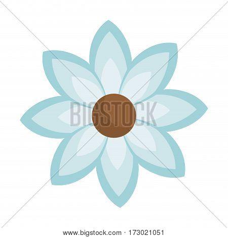 blue silhouette figure flower icon floral vector illustration
