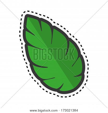 sticker green leaf nature plant icon vector illustration