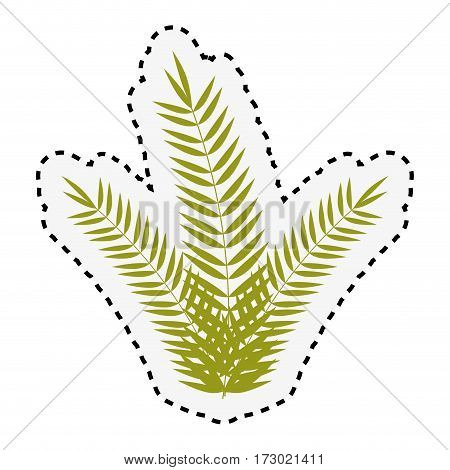 sticker green branch with multiple leaves vector illustration