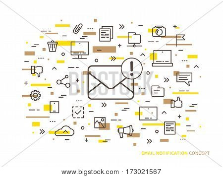 Linear e-mail notification vector illustration. Mail notice envelope correspondence mobile web technology creative concept. Message reminder mail application graphic design.