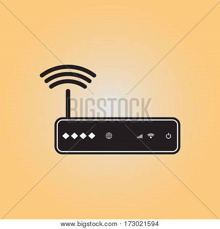 Router flat vector icon. Isolated router vector sign. Working Wi-fi router vector illustration. Wireless network symbol.
