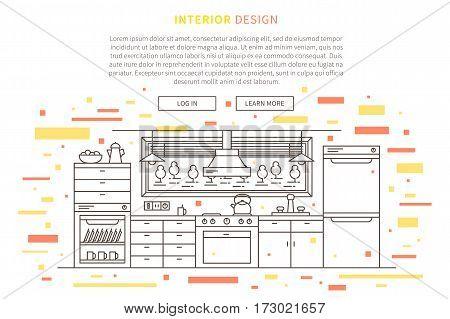 Interior design house furniture landing page linear vector illustration. Line graphic design of kitchen. Creative concept of flat interior design website page.