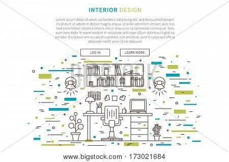Interior design landing page linear vector illustration. Line graphic design of working place. Creative concept of flat interior design website page.