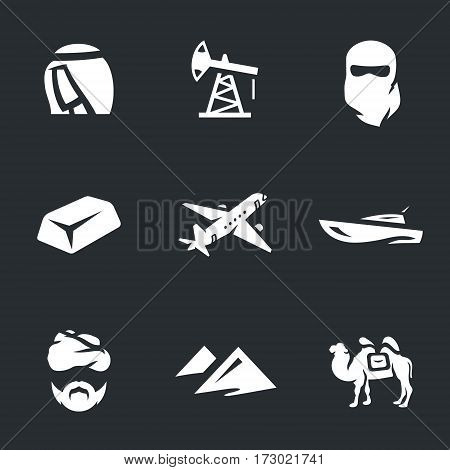 Sheikh, oil derrick, hijab, bar of gold, plane, boat, Bedouin, dune, camel.