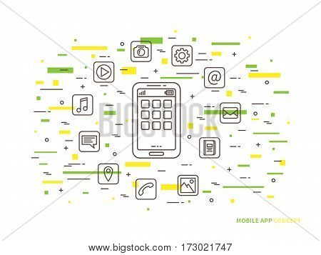 Linear mobile app phone application mobile content flat vector illustration. Smartphone app icons multimedia app media app software development graphic creative concept.
