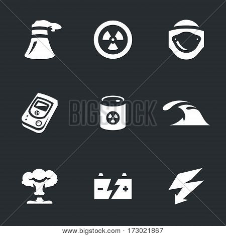Cooling tower, nuclear sign, protective suit, analyzer, toxic waste, water, mushroom cloud, battery, discharge.