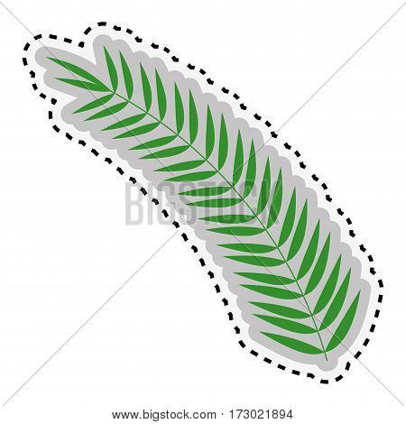 sticker green leaf Silhouette with ramifications vector illustration