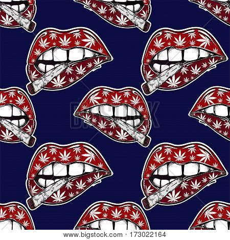 Vector seamless pattern. Sexy fatal biting lips with weed pattern and weed joint or spliff or tabacco cigarette. Pop art print. Drug consumption, marijuana use clip art. Elegant tattoo artwork.