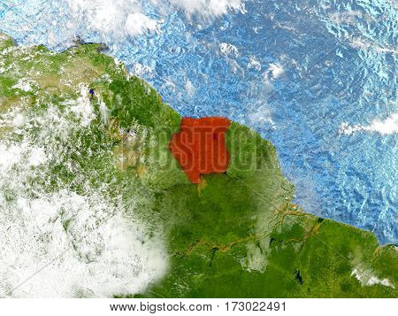 Suriname On Map With Clouds