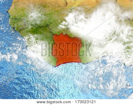 Ivory Coast On Map With Clouds