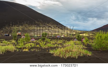 Campground in Dead wood - a consequence of a catastrophic release of ash during the eruption of the volcano in 1975 Tolbachik